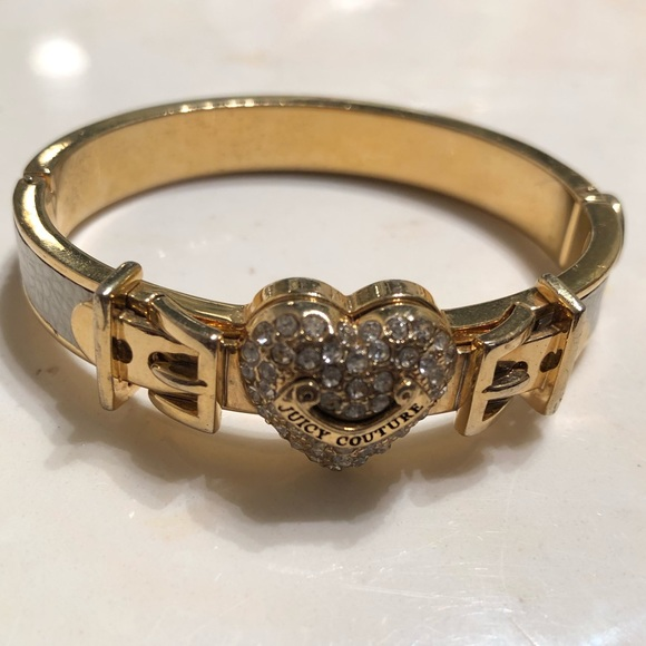 Juicy Couture Jewelry - Juicy Couture gold and white leather bangle